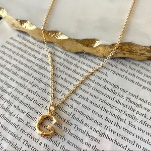 Gold Initial Letter Necklace Bamboo Link G